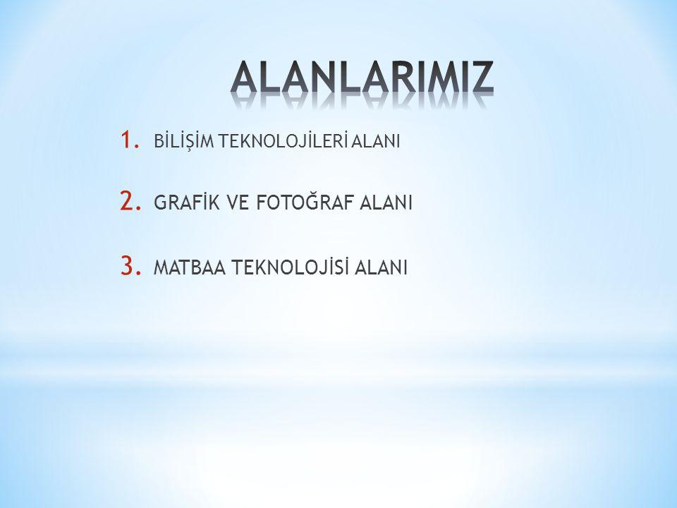 1. BİLİŞİM TEKNOLOJİLERİ ALANI 2. GRAFİK VE FOTOĞRAF ALANI 3. MATBAA TEKNOLOJİSİ ALANI