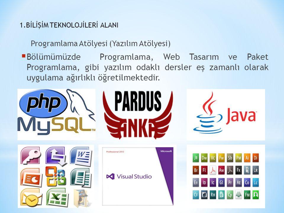 1.BİLİŞİM TEKNOLOJİLERİ ALANI Programlama Atölyesi (Yazılım Atölyesi)  Bölümümüzde Programlama, Web Tasarım ve Paket Programlama, gibi yazılım odaklı