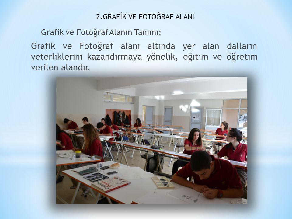 2.GRAFİK VE FOTOĞRAF ALANI Grafik ve Fotoğraf Alanın Tanımı; Grafik ve Fotoğraf alanı altında yer alan dalların yeterliklerini kazandırmaya yönelik, e