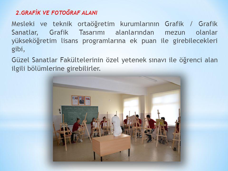 2.GRAFİK VE FOTOĞRAF ALANI Mesleki ve teknik ortaöğretim kurumlarının Grafik / Grafik Sanatlar, Grafik Tasarımı alanlarından mezun olanlar yükseköğret