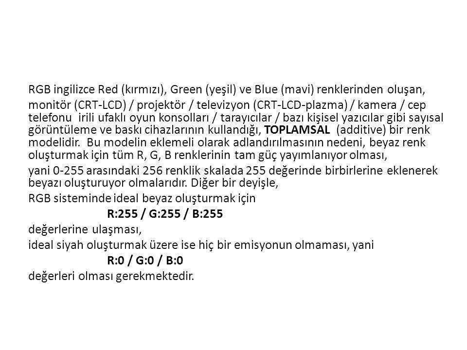 RGB ingilizce Red (kırmızı), Green (yeşil) ve Blue (mavi) renklerinden oluşan, monitör (CRT-LCD) / projektör / televizyon (CRT-LCD-plazma) / kamera /