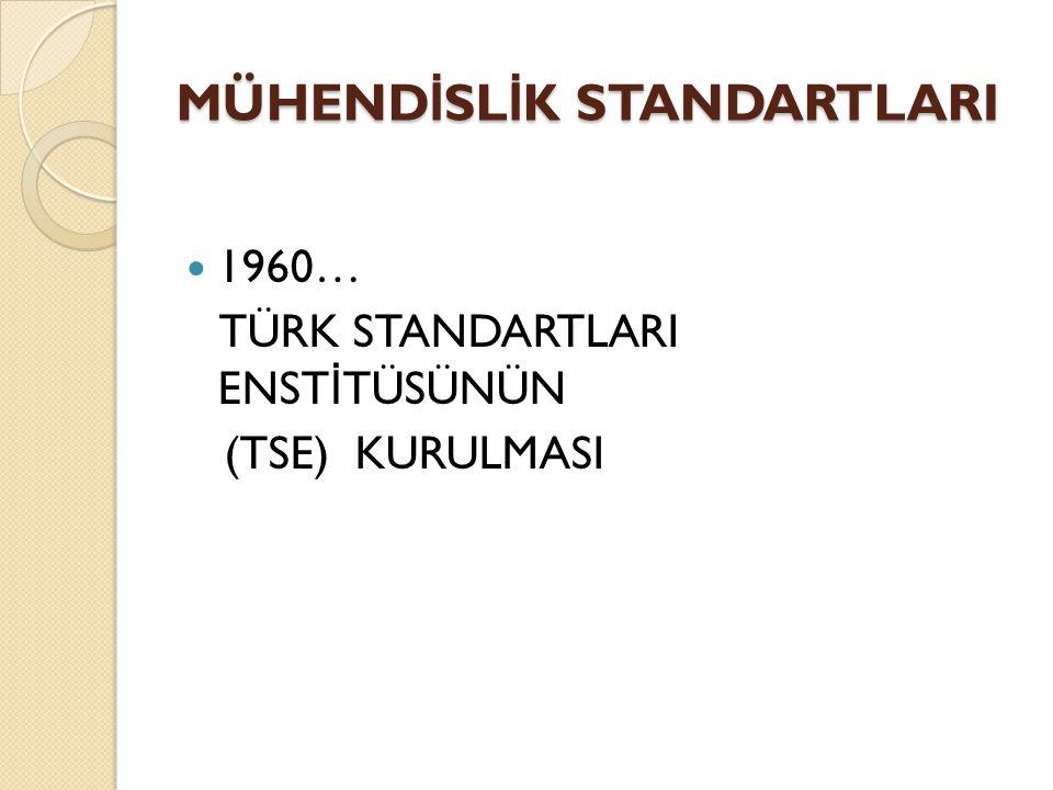1960… TÜRK STANDARTLARI ENST İ TÜSÜNÜN (TSE) KURULMASI MÜHEND İ SL İ K STANDARTLARI