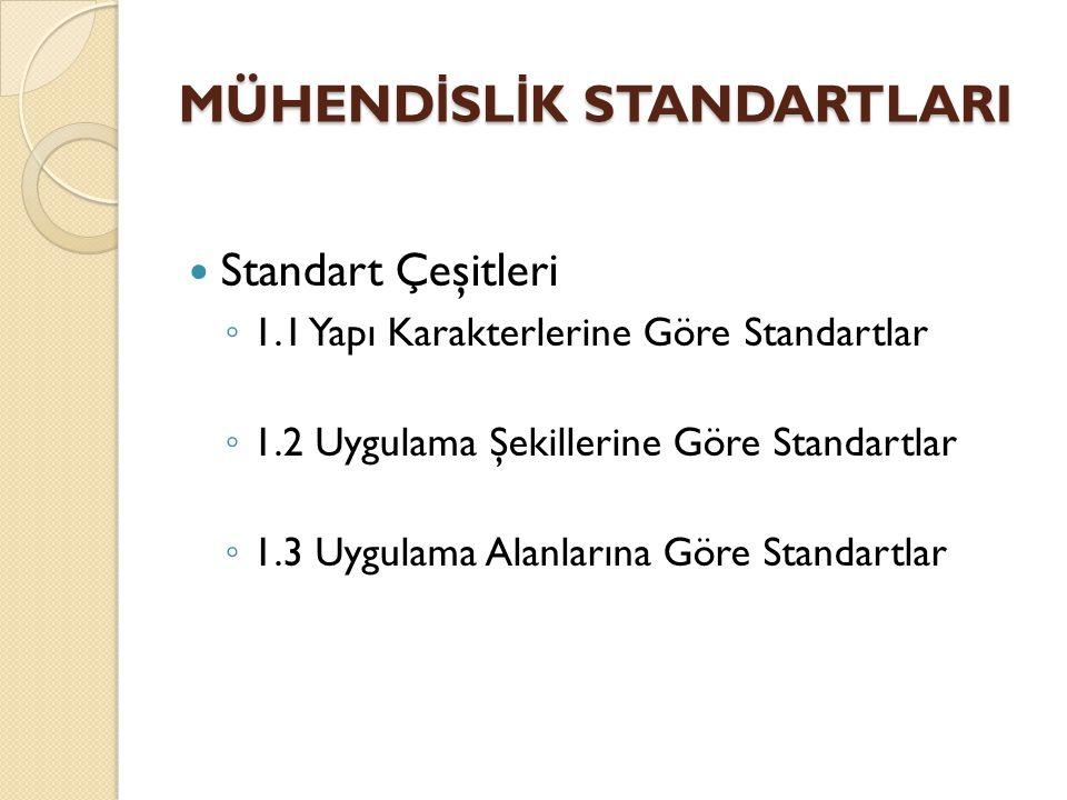 Standart Çeşitleri ◦ 1.1 Yapı Karakterlerine Göre Standartlar ◦ 1.2 Uygulama Şekillerine Göre Standartlar ◦ 1.3 Uygulama Alanlarına Göre Standartlar M