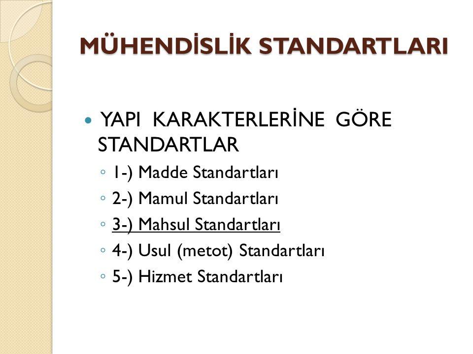 YAPI KARAKTERLER İ NE GÖRE STANDARTLAR ◦ 1-) Madde Standartları ◦ 2-) Mamul Standartları ◦ 3-) Mahsul Standartları ◦ 4-) Usul (metot) Standartları ◦ 5