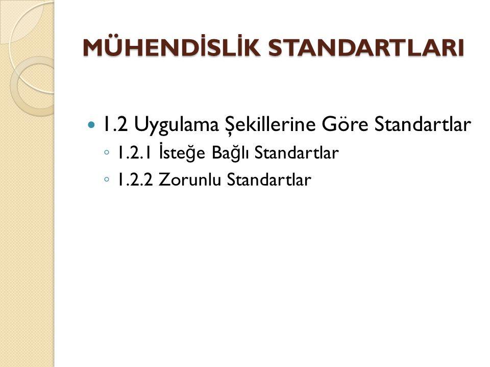 1.2 Uygulama Şekillerine Göre Standartlar ◦ 1.2.1 İ ste ğ e Ba ğ lı Standartlar ◦ 1.2.2 Zorunlu Standartlar MÜHEND İ SL İ K STANDARTLARI