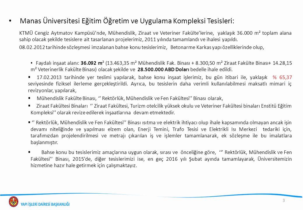 Manas Üniversitesi Eğitim Öğretim ve Uygulama Kompleksi Tesisleri: KTMÜ Cengiz Aytmatov Kampüsü'nde, Mühendislik, Ziraat ve Veteriner Fakülte'lerine,
