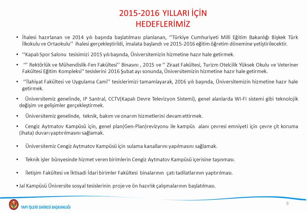 6 2015-2016 YILLARI İÇİN HEDEFLERİMİZ İhalesi hazırlanan ve 2014 yılı başında başlatılması planlanan, ''Türkiye Cumhuriyeti Milli Eğitim Bakanlığı Biş