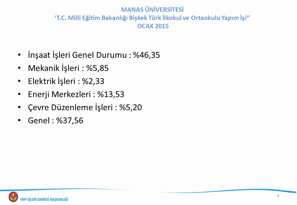 MANAS ÜNİVERSİTESİ 'T.C. Milli Eğitim Bakanlığı Bişkek Türk İlkokul ve Ortaokulu Yapım İşi'' OCAK 2015 4 İnşaat İşleri Genel Durumu : %46,35 Mekanik İ