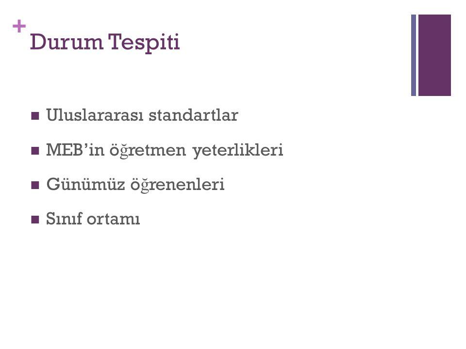 + Durum Tespiti Uluslararası standartlar MEB'in ö ğ retmen yeterlikleri Günümüz ö ğ renenleri Sınıf ortamı