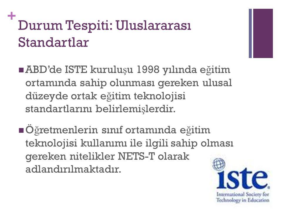 + Durum Tespiti: Uluslararası Standartlar ABD'de ISTE kurulu ş u 1998 yılında e ğ itim ortamında sahip olunması gereken ulusal düzeyde ortak e ğ itim