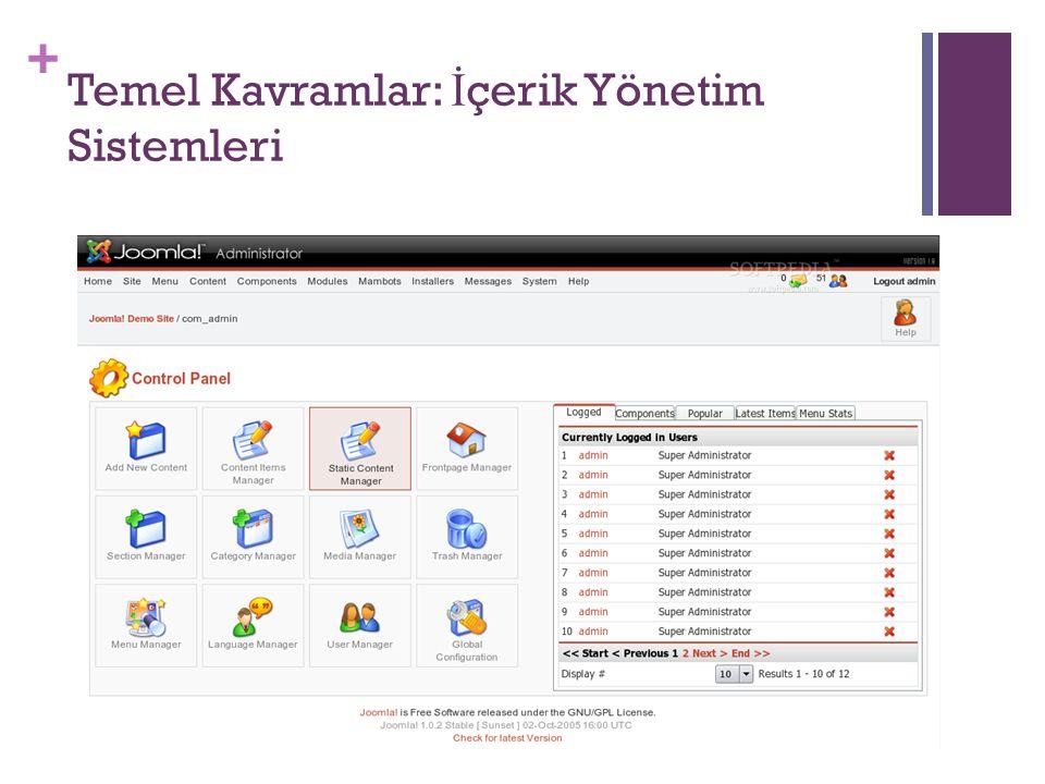 + Temel Kavramlar: İ çerik Yönetim Sistemleri