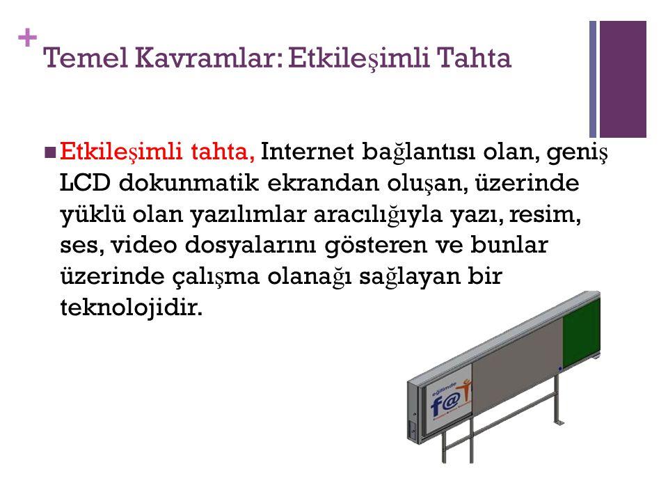 + Temel Kavramlar: Etkile ş imli Tahta Etkile ş imli tahta, Internet ba ğ lantısı olan, geni ş LCD dokunmatik ekrandan olu ş an, üzerinde yüklü olan y