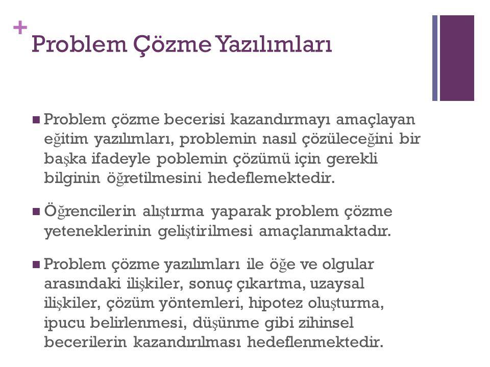 + Problem Çözme Yazılımları Problem çözme becerisi kazandırmayı amaçlayan e ğ itim yazılımları, problemin nasıl çözülece ğ ini bir ba ş ka ifadeyle po