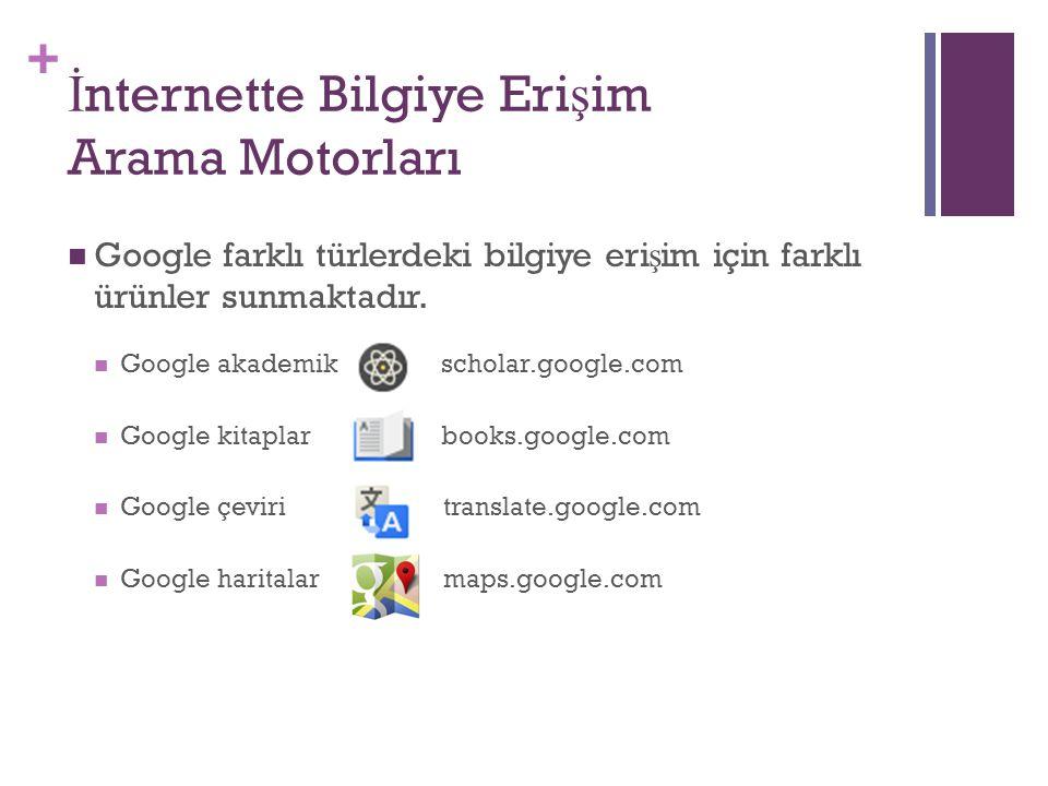 + İ nternette Bilgiye Eri ş im Arama Motorları Google farklı türlerdeki bilgiye eri ş im için farklı ürünler sunmaktadır. Google akademik scholar.goog