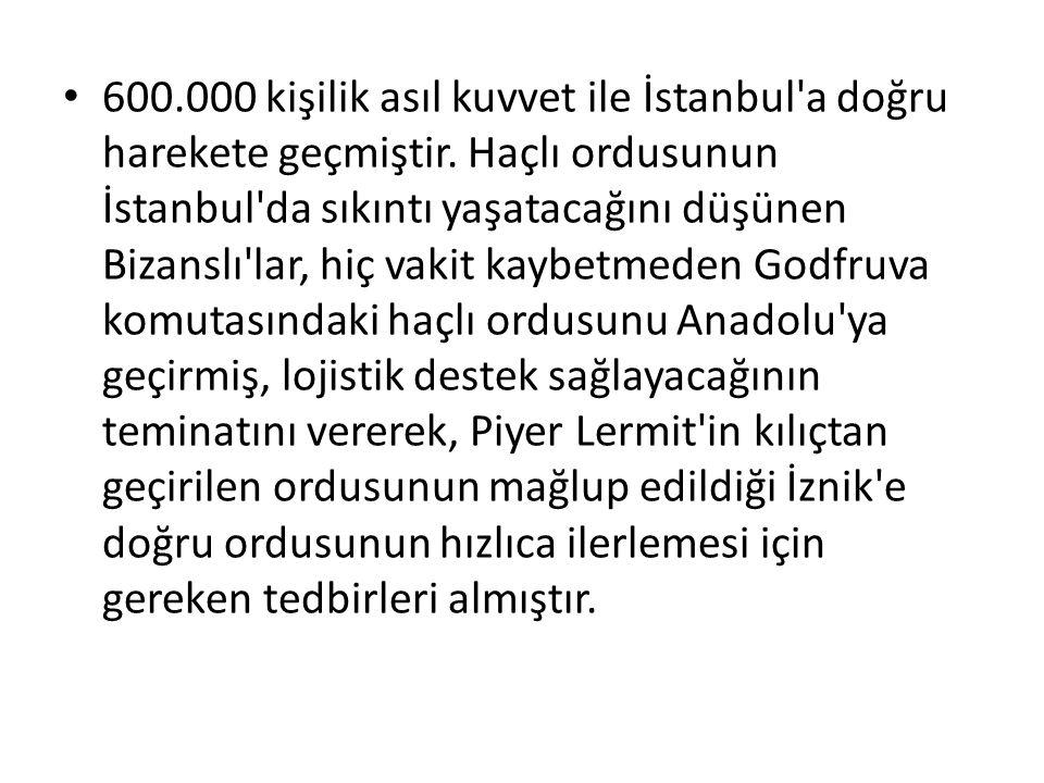 600.000 kişilik asıl kuvvet ile İstanbul'a doğru harekete geçmiştir. Haçlı ordusunun İstanbul'da sıkıntı yaşatacağını düşünen Bizanslı'lar, hiç vakit