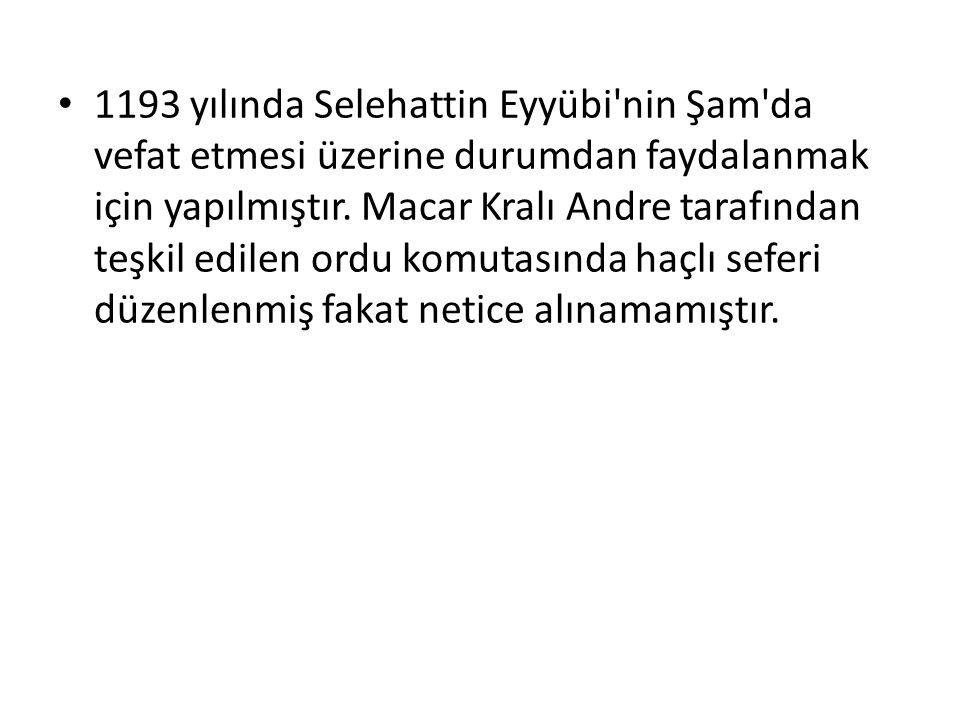 1193 yılında Selehattin Eyyübi'nin Şam'da vefat etmesi üzerine durumdan faydalanmak için yapılmıştır. Macar Kralı Andre tarafından teşkil edilen ordu