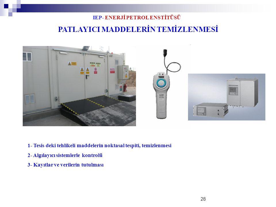 IEP- ENERJİ PETROL ENSTİTÜSÜ 28 PATLAYICI MADDELERİN TEMİZLENMESİ 1- Tesis deki tehlikeli maddelerin noktasal tespiti, temizlenmesi 2- Algılayıcı sist