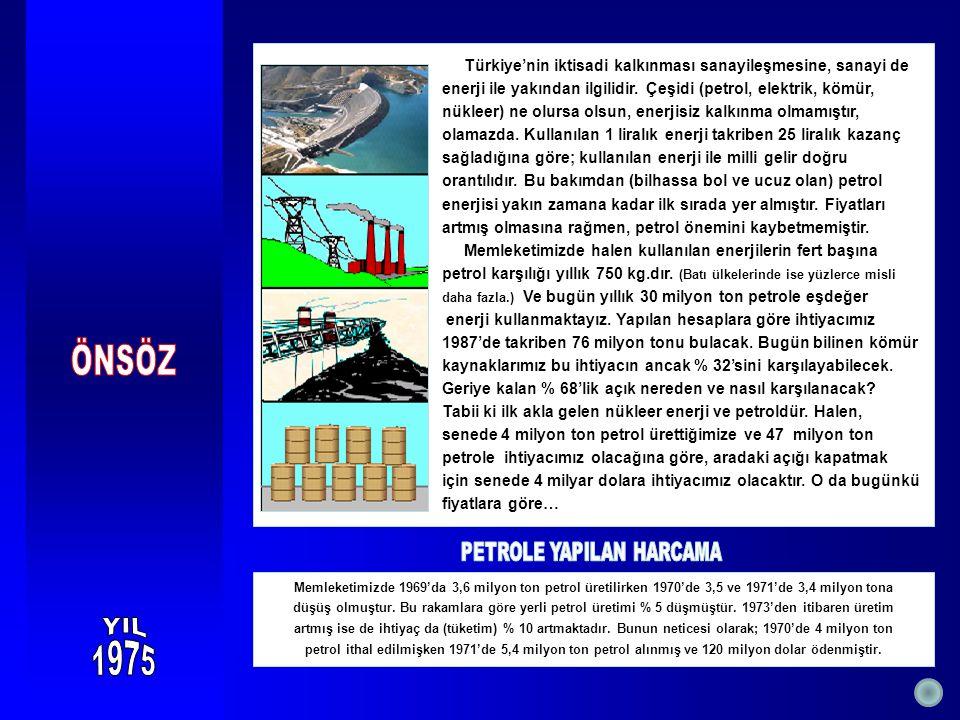 Türkiye'nin iktisadi kalkınması sanayileşmesine, sanayi de enerji ile yakından ilgilidir. Çeşidi (petrol, elektrik, kömür, nükleer) ne olursa olsun, e
