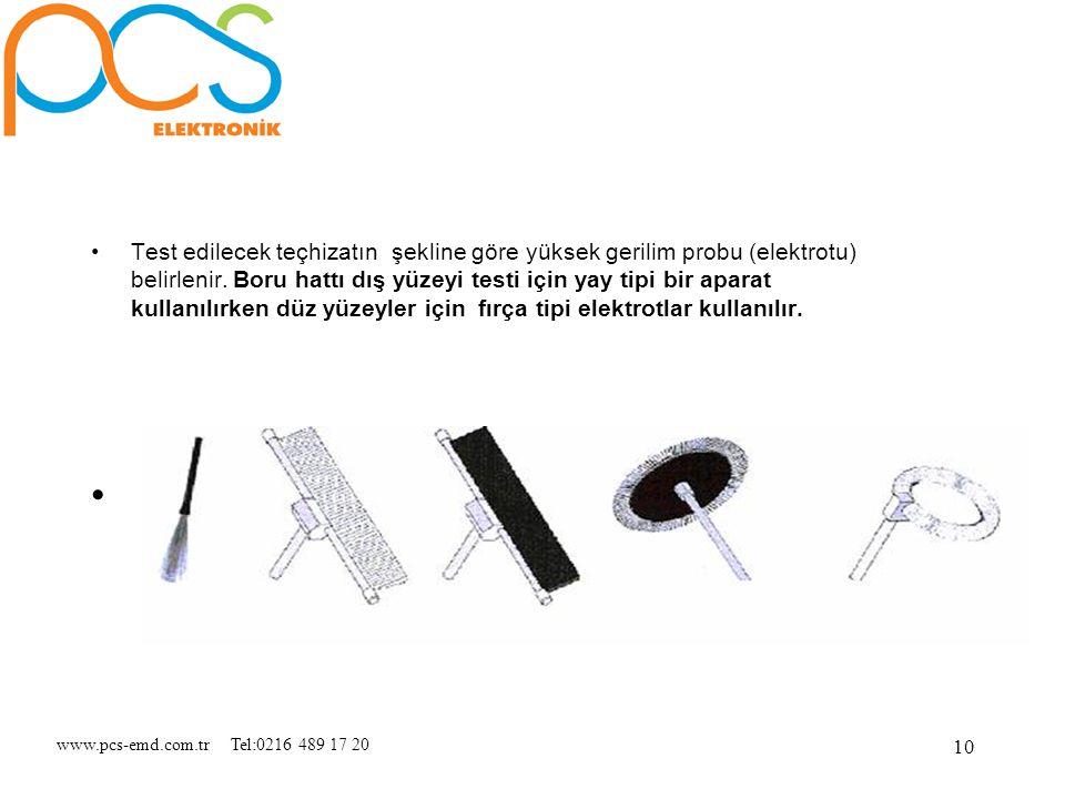 www.pcs-emd.com.tr Tel:0216 489 17 20 10 Test edilecek teçhizatın şekline göre yüksek gerilim probu (elektrotu) belirlenir. Boru hattı dış yüzeyi test