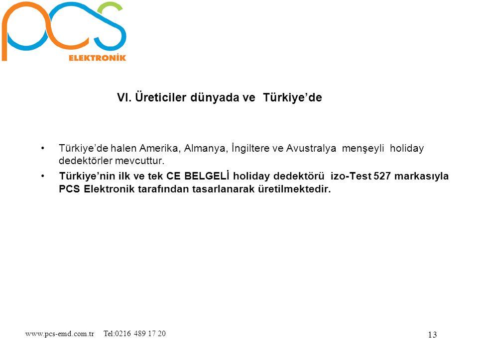 www.pcs-emd.com.tr Tel:0216 489 17 20 13 VI. Üreticiler dünyada ve Türkiye'de Türkiye'de halen Amerika, Almanya, İngiltere ve Avustralya menşeyli holi