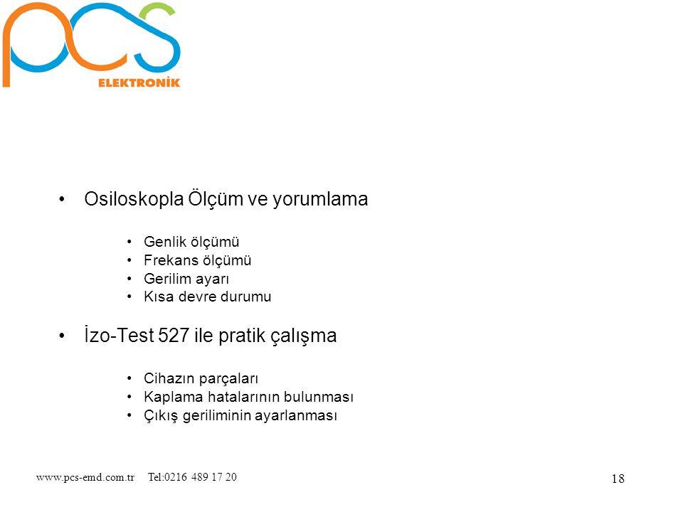 www.pcs-emd.com.tr Tel:0216 489 17 20 18 Osiloskopla Ölçüm ve yorumlama Genlik ölçümü Frekans ölçümü Gerilim ayarı Kısa devre durumu İzo-Test 527 ile