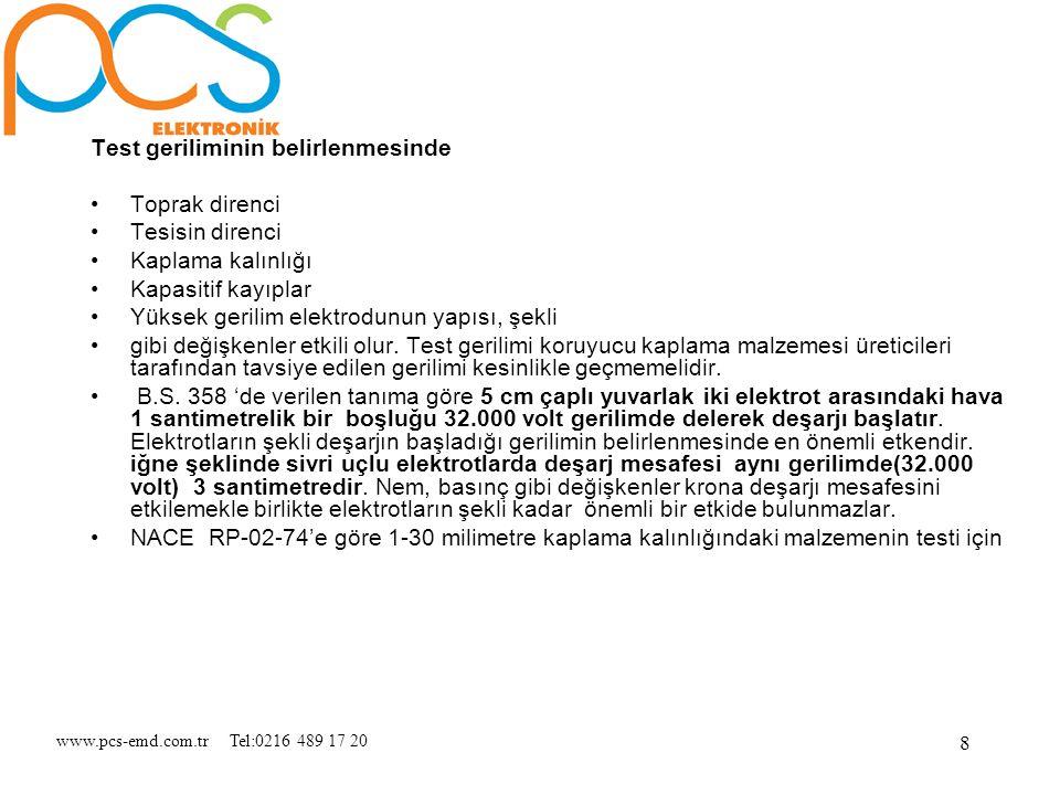 www.pcs-emd.com.tr Tel:0216 489 17 20 9 Test Voltajı = 7900 x √Kaplama malzemesinin mm olarak kalınlığı şeklinde verilmiştir.