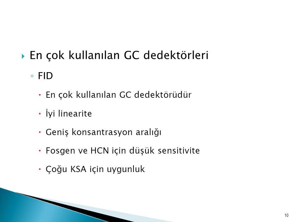  En çok kullanılan GC dedektörleri ◦ FID  En çok kullanılan GC dedektörüdür  İyi linearite  Geniş konsantrasyon aralığı  Fosgen ve HCN için düşük
