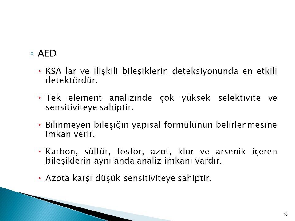 ◦ AED  KSA lar ve ilişkili bileşiklerin deteksiyonunda en etkili detektördür.  Tek element analizinde çok yüksek selektivite ve sensitiviteye sahipt