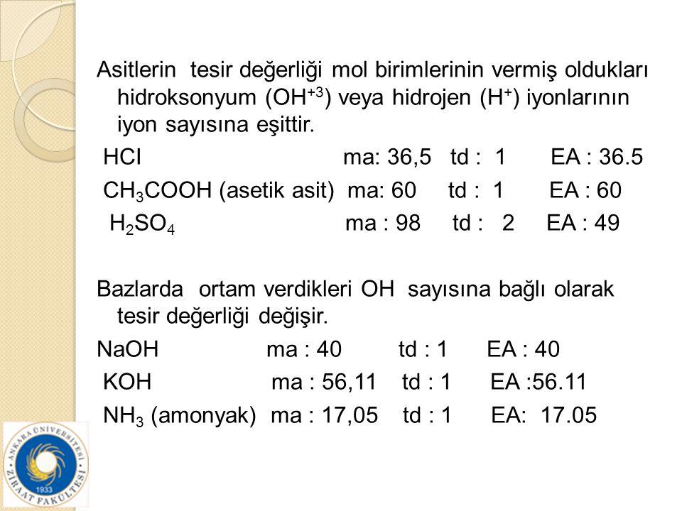 Asitlerin tesir değerliği mol birimlerinin vermiş oldukları hidroksonyum (OH +3 ) veya hidrojen (H + ) iyonlarının iyon sayısına eşittir. HCI ma: 36,5