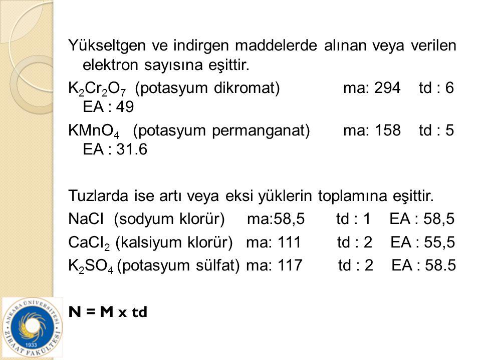 Yükseltgen ve indirgen maddelerde alınan veya verilen elektron sayısına eşittir. K 2 Cr 2 O 7 (potasyum dikromat) ma: 294 td : 6 EA : 49 KMnO 4 (potas