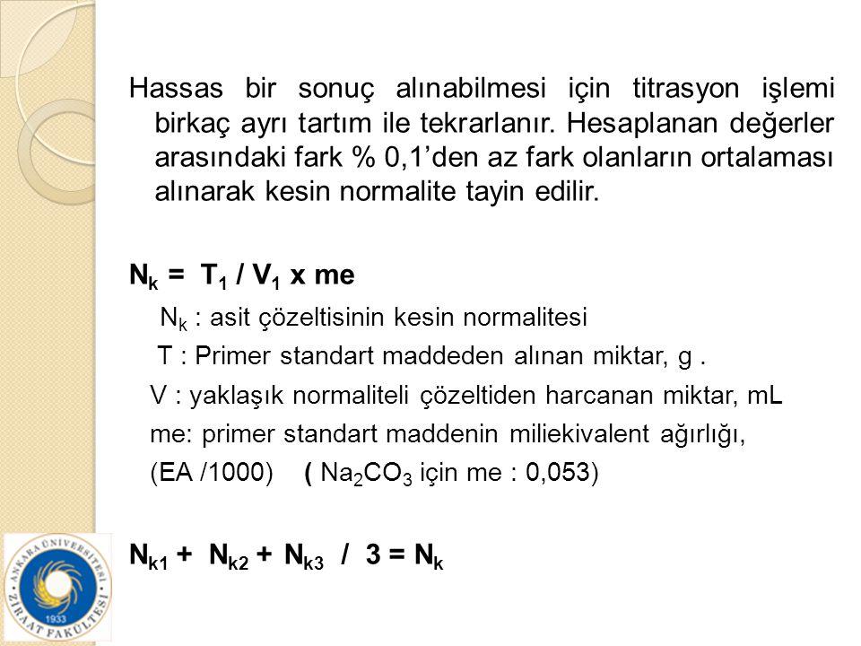 Hassas bir sonuç alınabilmesi için titrasyon işlemi birkaç ayrı tartım ile tekrarlanır. Hesaplanan değerler arasındaki fark % 0,1'den az fark olanları