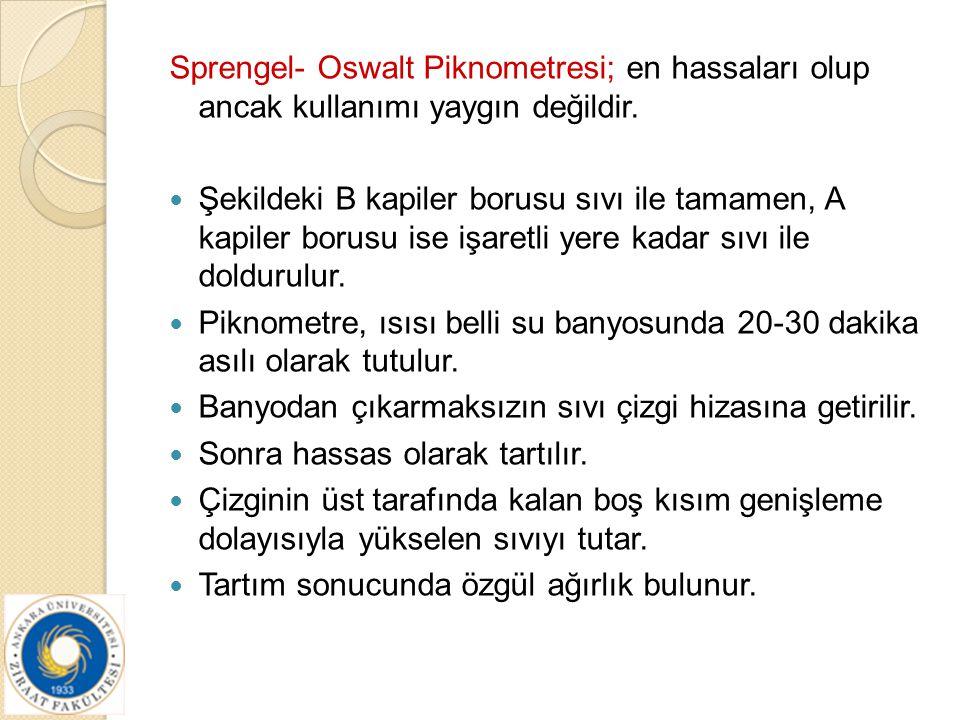 Sprengel- Oswalt Piknometresi; en hassaları olup ancak kullanımı yaygın değildir. Şekildeki B kapiler borusu sıvı ile tamamen, A kapiler borusu ise iş