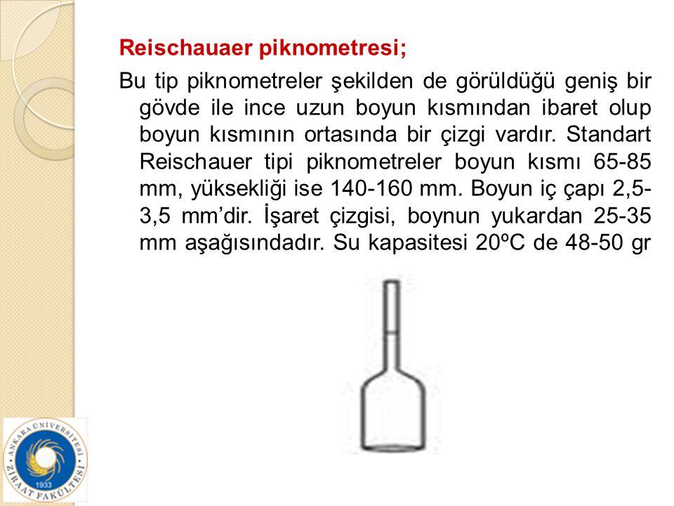 Reischauaer piknometresi; Bu tip piknometreler şekilden de görüldüğü geniş bir gövde ile ince uzun boyun kısmından ibaret olup boyun kısmının ortasınd