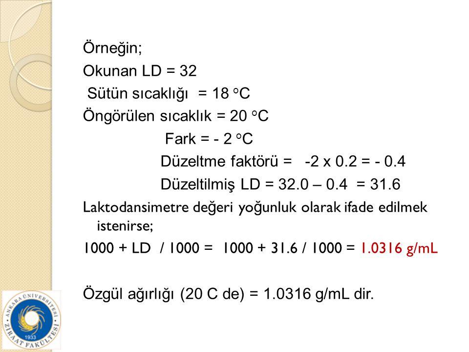 Örneğin; Okunan LD = 32 Sütün sıcaklığı = 18 o C Öngörülen sıcaklık = 20 o C Fark = - 2 o C Düzeltme faktörü = -2 x 0.2 = - 0.4 Düzeltilmiş LD = 32.0