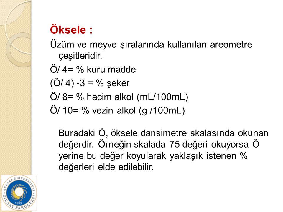 Öksele : Üzüm ve meyve şıralarında kullanılan areometre çeşitleridir. Ö/ 4= % kuru madde (Ö/ 4) -3 = % şeker Ö/ 8= % hacim alkol (mL/100mL) Ö/ 10= % v
