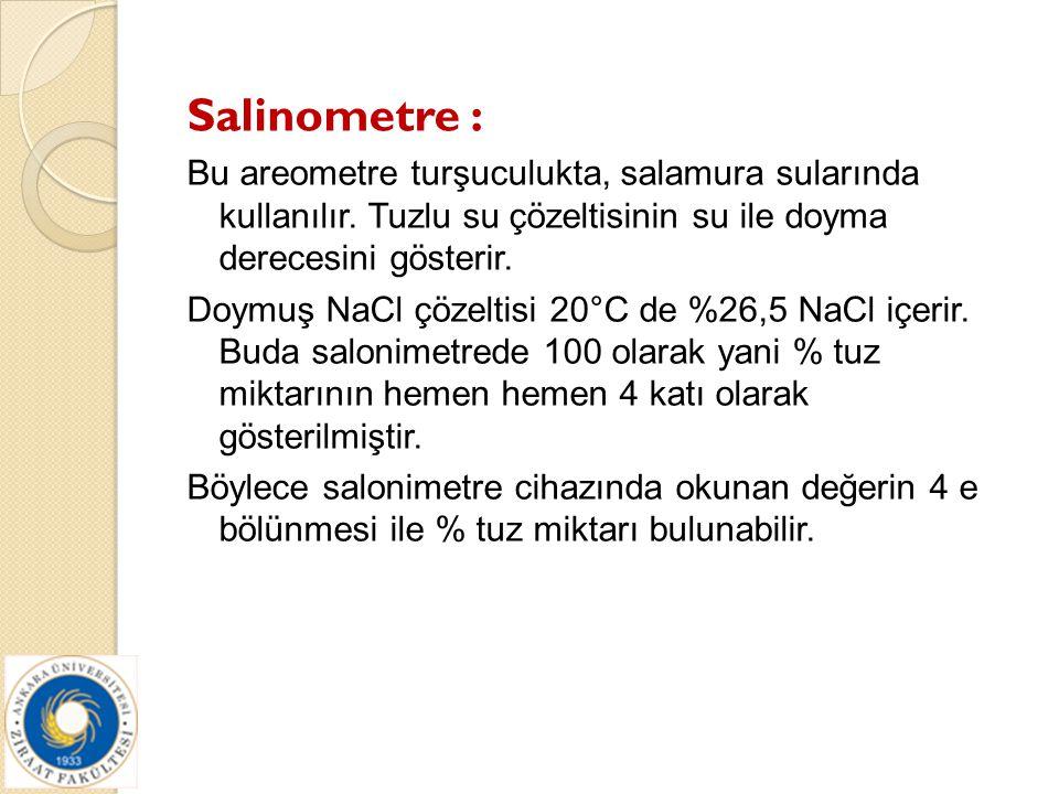 Salinometre : Bu areometre turşuculukta, salamura sularında kullanılır. Tuzlu su çözeltisinin su ile doyma derecesini gösterir. Doymuş NaCl çözeltisi