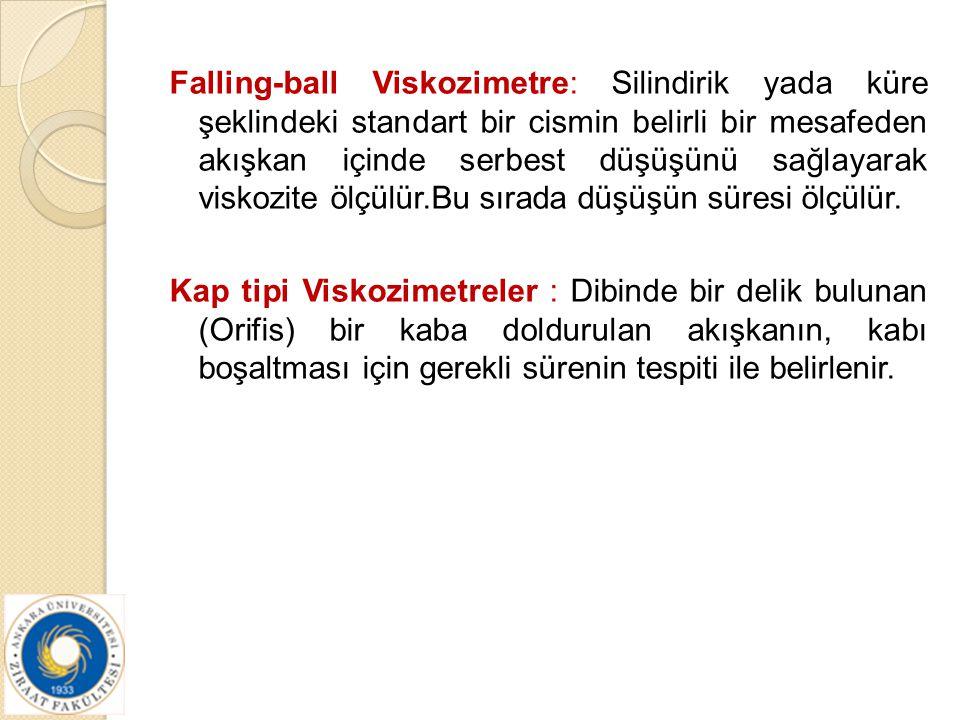 Falling-ball Viskozimetre: Silindirik yada küre şeklindeki standart bir cismin belirli bir mesafeden akışkan içinde serbest düşüşünü sağlayarak viskoz