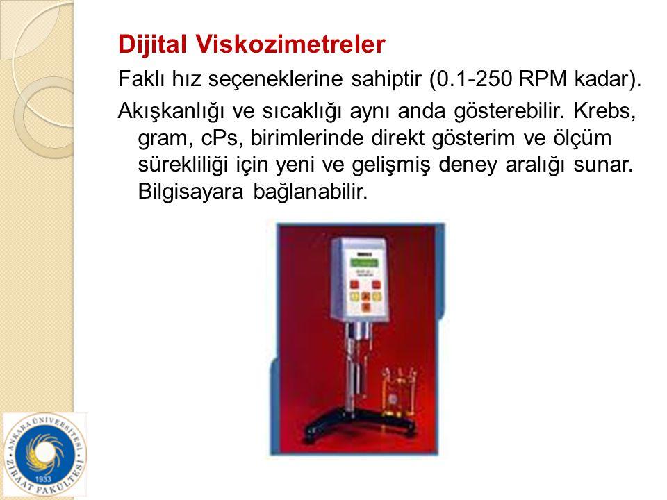 Dijital Viskozimetreler Faklı hız seçeneklerine sahiptir (0.1-250 RPM kadar). Akışkanlığı ve sıcaklığı aynı anda gösterebilir. Krebs, gram, cPs, birim