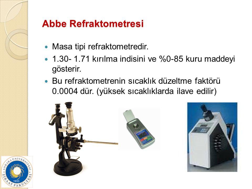 Abbe Refraktometresi Masa tipi refraktometredir. 1.30- 1.71 kırılma indisini ve %0-85 kuru maddeyi gösterir. Bu refraktometrenin sıcaklık düzeltme fak