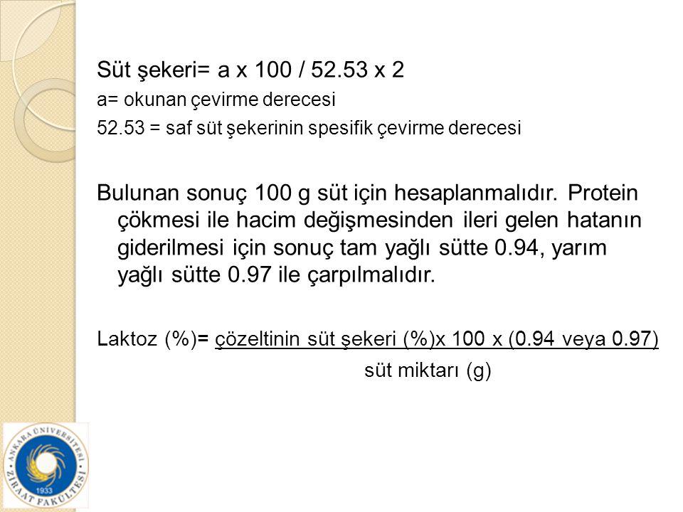 Süt şekeri= a x 100 / 52.53 x 2 a= okunan çevirme derecesi 52.53 = saf süt şekerinin spesifik çevirme derecesi Bulunan sonuç 100 g süt için hesaplanma