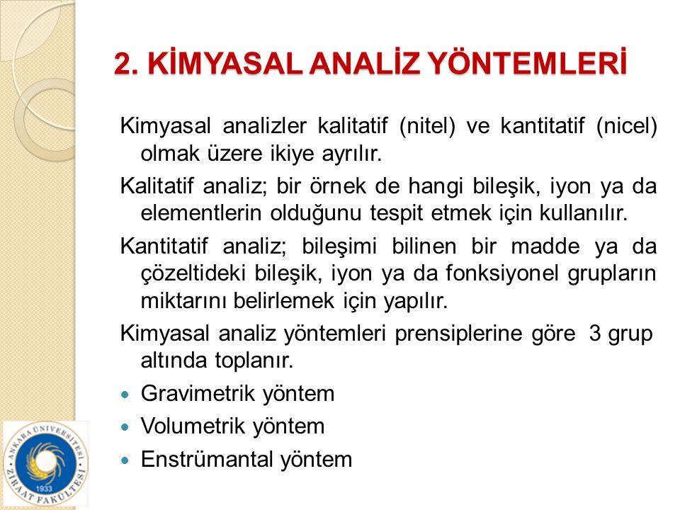 2. KİMYASAL ANALİZ YÖNTEMLERİ Kimyasal analizler kalitatif (nitel) ve kantitatif (nicel) olmak üzere ikiye ayrılır. Kalitatif analiz; bir örnek de han