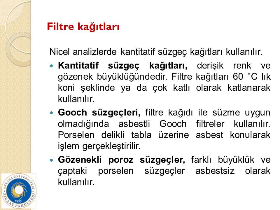 Filtre ka ğ ıtları Nicel analizlerde kantitatif süzgeç kağıtları kullanılır. Kantitatif süzgeç kağıtları, derişik renk ve gözenek büyüklüğündedir. Fil