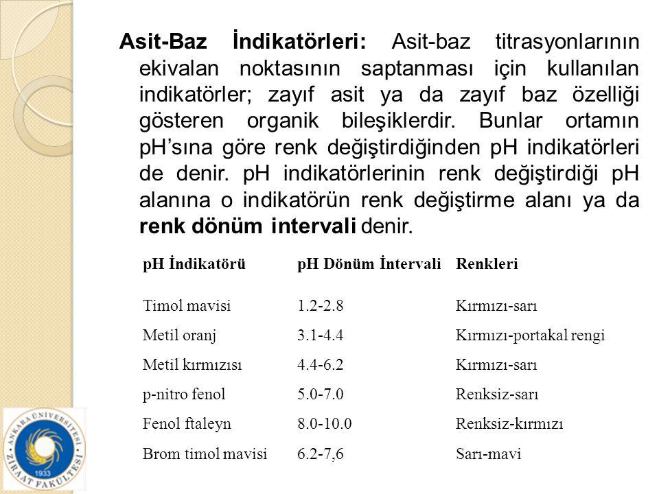 Asit-Baz İndikatörleri: Asit-baz titrasyonlarının ekivalan noktasının saptanması için kullanılan indikatörler; zayıf asit ya da zayıf baz özelliği gös