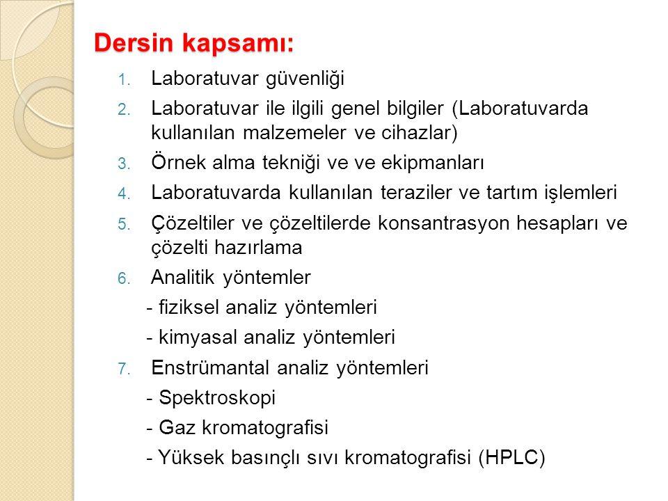 Dersin kapsamı: 1. Laboratuvar güvenliği 2. Laboratuvar ile ilgili genel bilgiler (Laboratuvarda kullanılan malzemeler ve cihazlar) 3. Örnek alma tekn