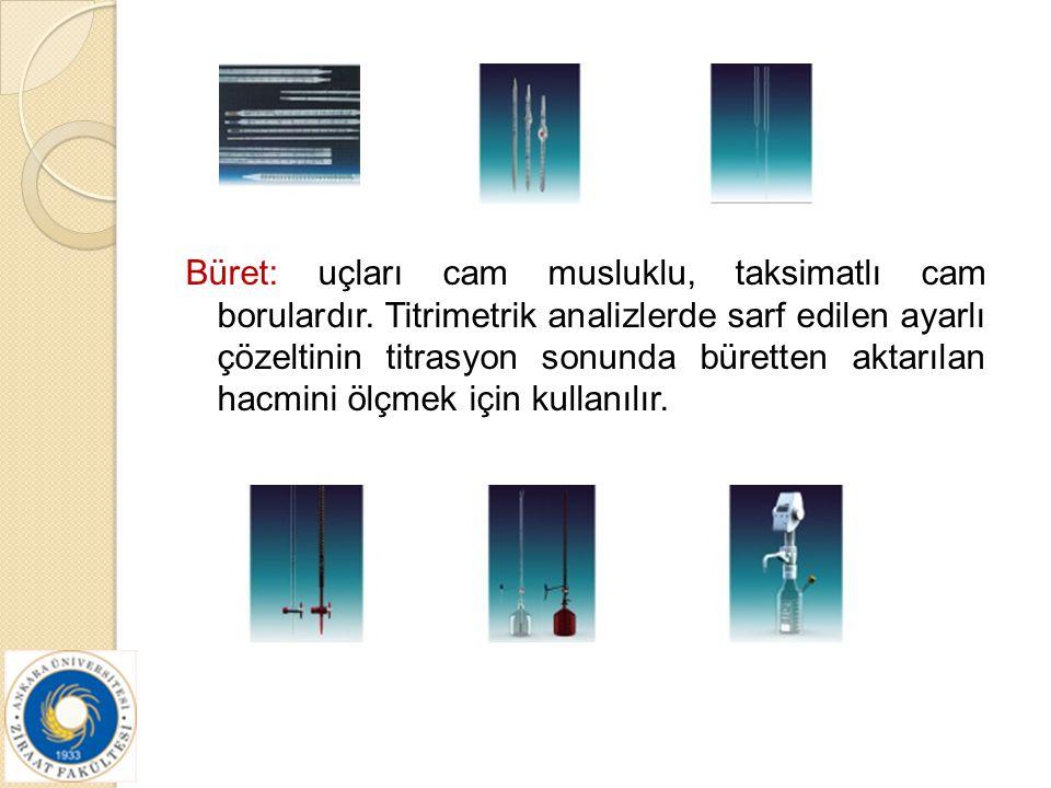 Büret: uçları cam musluklu, taksimatlı cam borulardır. Titrimetrik analizlerde sarf edilen ayarlı çözeltinin titrasyon sonunda büretten aktarılan hacm