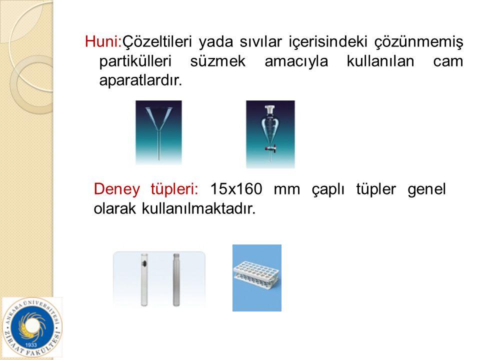 Huni:Çözeltileri yada sıvılar içerisindeki çözünmemiş partikülleri süzmek amacıyla kullanılan cam aparatlardır. Deney tüpleri: 15x160 mm çaplı tüpler