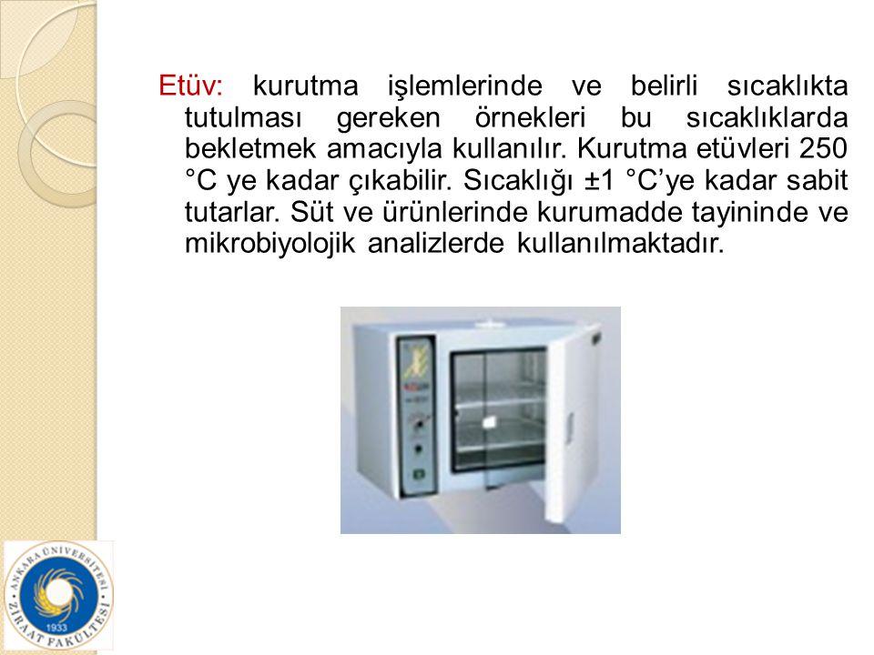 Etüv: kurutma işlemlerinde ve belirli sıcaklıkta tutulması gereken örnekleri bu sıcaklıklarda bekletmek amacıyla kullanılır. Kurutma etüvleri 250 °C y