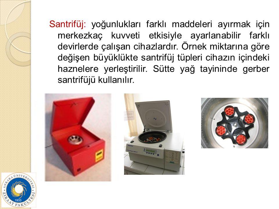 Santrifüj: yoğunlukları farklı maddeleri ayırmak için merkezkaç kuvveti etkisiyle ayarlanabilir farklı devirlerde çalışan cihazlardır. Örnek miktarına
