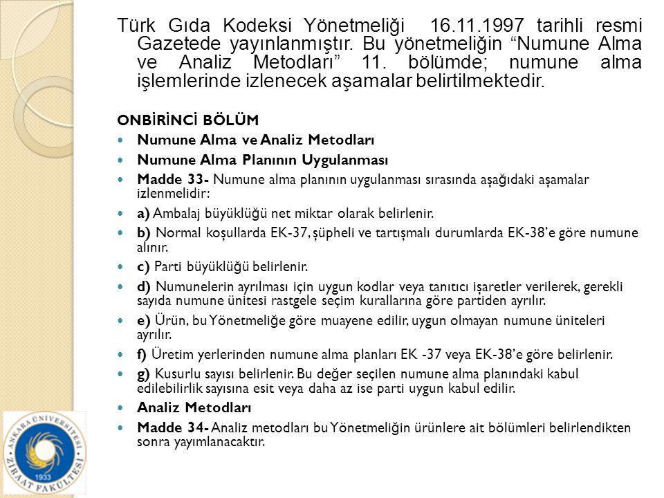 """Türk Gıda Kodeksi Yönetmeliği 16.11.1997 tarihli resmi Gazetede yayınlanmıştır. Bu yönetmeliğin """"Numune Alma ve Analiz Metodları"""" 11. bölümde; numune"""
