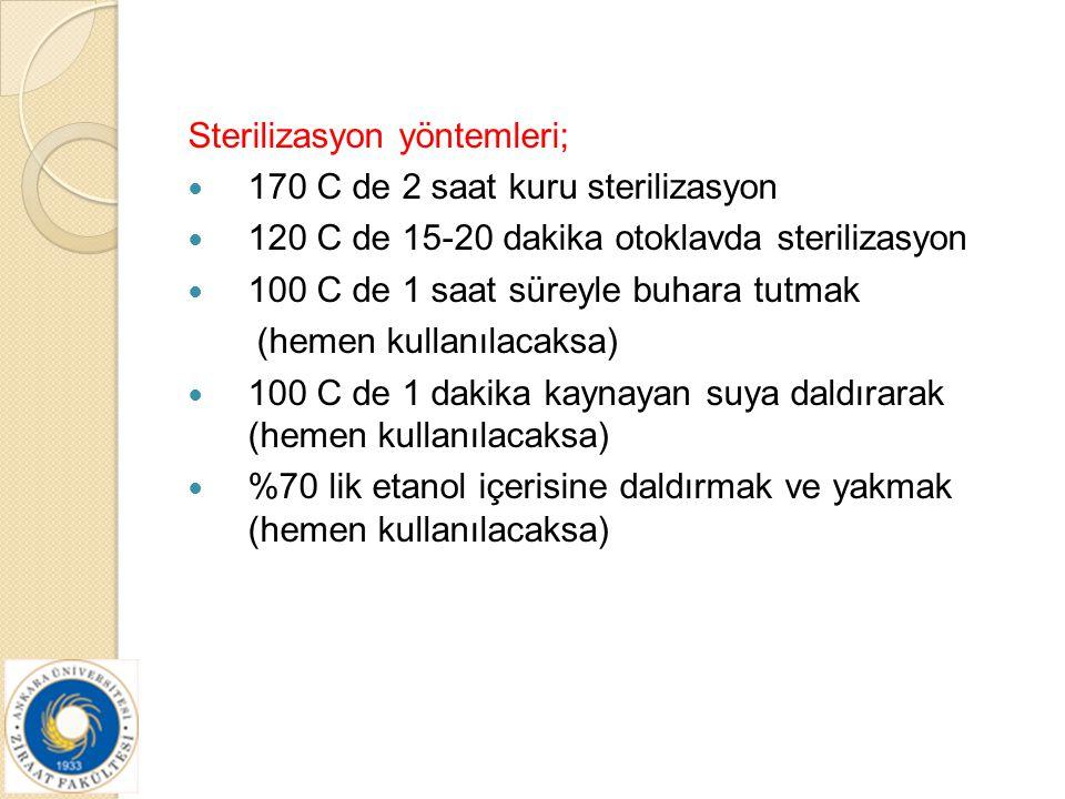 Sterilizasyon yöntemleri; 170 C de 2 saat kuru sterilizasyon 120 C de 15-20 dakika otoklavda sterilizasyon 100 C de 1 saat süreyle buhara tutmak (heme